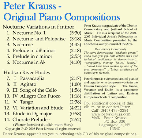 The back cover of Peter Krauss - Original Piano Compositions
